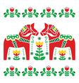 Swedish Dala or Daleclarian horse folk art pattern vector image vector image