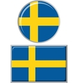 Swedish round and square icon flag vector image
