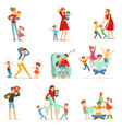 tired parents and their children set parenting vector image vector image