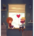 Two lovers sitting on the windowsill in an vector image vector image