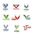 v letter corporate business identity font icons vector image vector image
