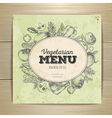 Vintage vegetarian food menu design vector image