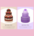 wedding cakes set sweet bakery posters text vector image