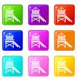 wooden stilt house icons 9 set vector image vector image