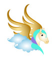 cute pegasus on clouds fantasy creature vector image