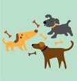 set cartoon dog with bone vector image