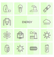14 energy icons vector image vector image