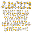 alphabet letters numbers of eggs scrambled eggs vector image