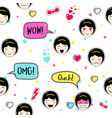 anime style seamless pattern cute emoji girls vector image vector image