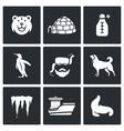 Antarctica icons set vector image vector image