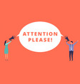 attention please tiny people hold megaphones and vector image