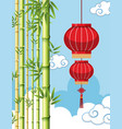 background template with chinese lantern vector image vector image