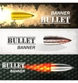 Banner of flying bullet ob military background vector image vector image