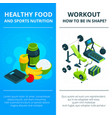 banners set with of gym equipment vector image vector image