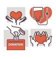 blood donation heart in helping hand icons vector image vector image