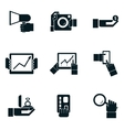 business shopping and travel hands isolated icons vector image vector image