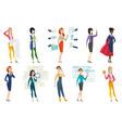 business woman stewardess doctor profession set vector image