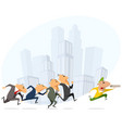 businessmen running for pizza courier vector image vector image