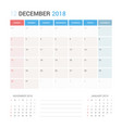 calendar planner for december 2018 vector image vector image