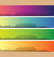 cape town multiple color gradient skyline banner vector image vector image