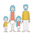caricature color sections and blue hair of family vector image vector image