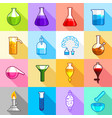 chemistry laboratory icons set flat style vector image vector image