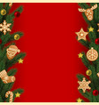 christmas and new year seamless vertical border vector image vector image