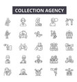 collection agency line icons for web and mobile vector image