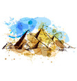Colored hand drawing pyramids vector image