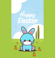 cute rabbit wearing face mask to prevent vector image vector image