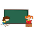 doodle girls reading book on blackboard template vector image vector image