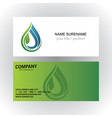 drop water ecology vetor logo business card vector image vector image
