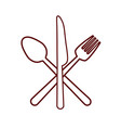 fork spoon knife cutlery product food silhouette vector image