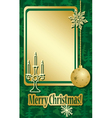 golden and green christmas frame with decorations vector image