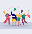 group joyful people celebrating new year party vector image