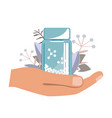 hand with bottle with gomeophatic granules vector image