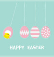 Happy easter text hanging pink painting pattern
