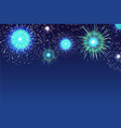 horizontal blue background with fireworks vector image vector image