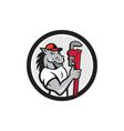 Horse Plumber Monkey Wrench Circle Cartoon vector image vector image