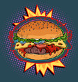 hot burger on fire vector image vector image