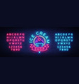 ice cream shop neon sign ice cream shop logo in vector image vector image