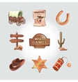 icons for Wild West computer game Cowboy vector image vector image