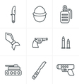 Line Icons Style military icons vector image vector image