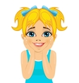 little girl making funny surprised expression vector image