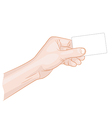 Man hand holding a blank card vector image