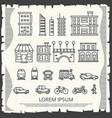 modern city elements on vintage poster - line art vector image