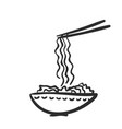 noodle at bowl and on chopsticks doodle asian vector image