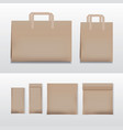 paper shopping bag brown various sizes vector image
