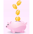 piggy bank with money vector image vector image
