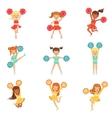 Primary School Little Girls In Cheerleaders vector image vector image